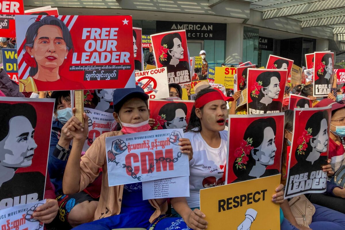 Demonstrators in Burma