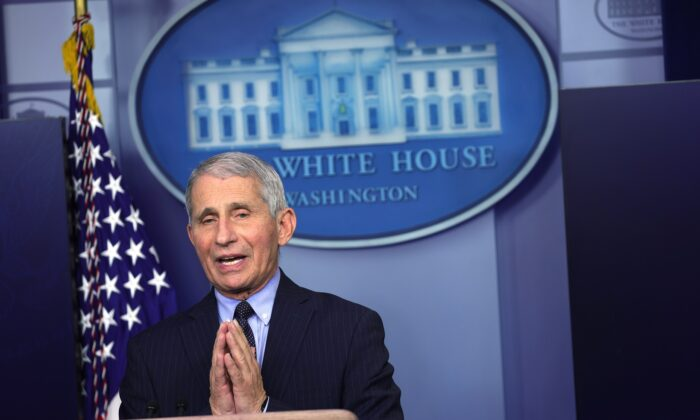 Dr. Anthony Fauci, director of the National Institute of Allergy and Infectious Diseases, speaks during a White House press briefing at the James Brady Press Briefing Room of the White House in Washington on Jan. 21, 2021. (Alex Wong/Getty Images)