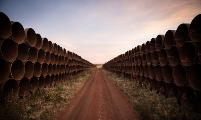Miles of unused pipe, prepared for the Keystone XL pipeline, sit in a lot outside Gascoyne, N.D., on Oct. 14, 2014. (Andrew Burton/Getty Images)