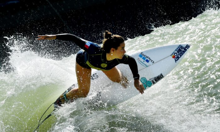 French surfer Johanne Defay during the World Surf League qualifiers.   MARK RALSTON/AFP via Getty Images