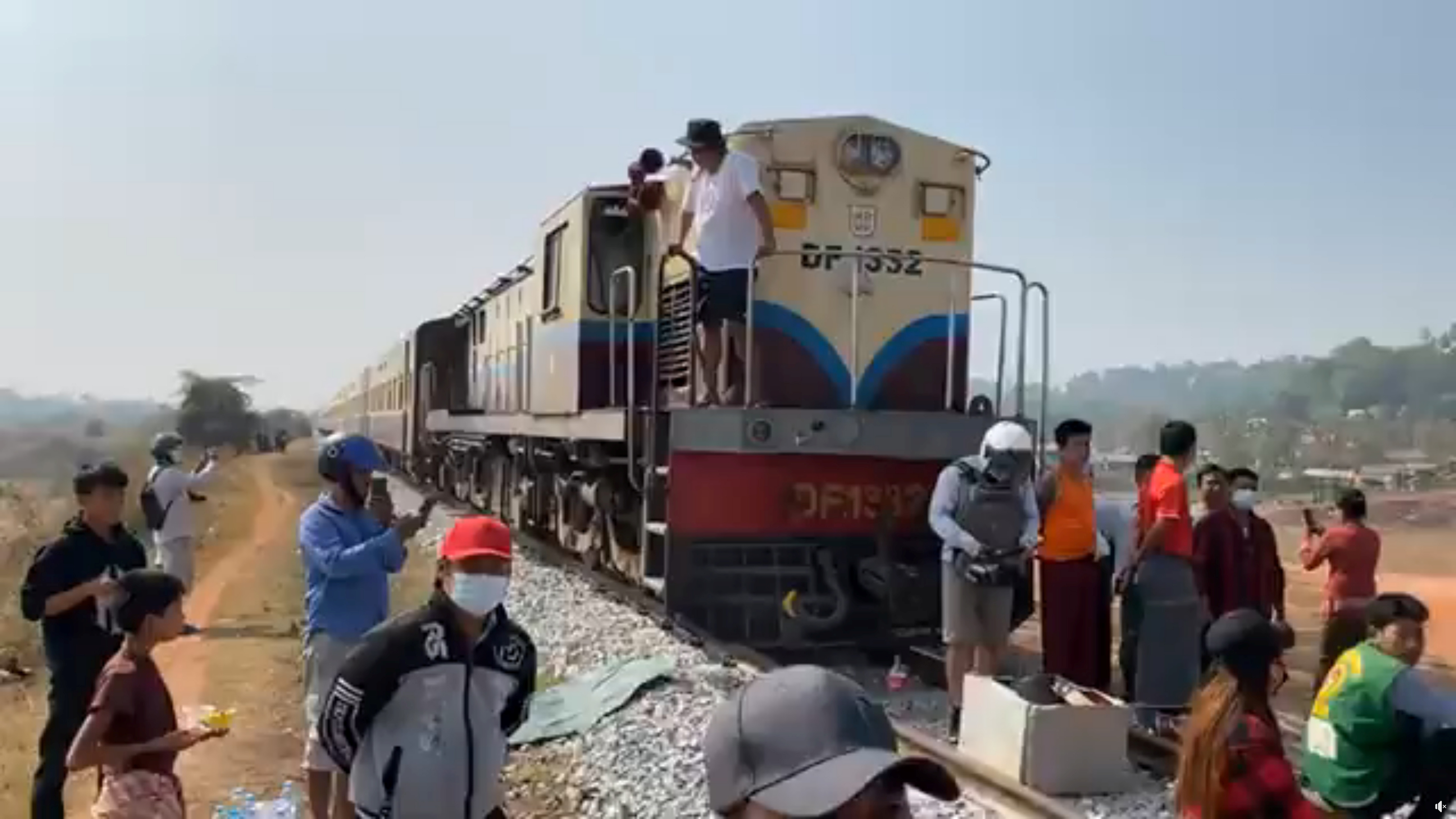 Protesters opposed to Myanmar's military coup block railway between Yangon and Mawlamyine