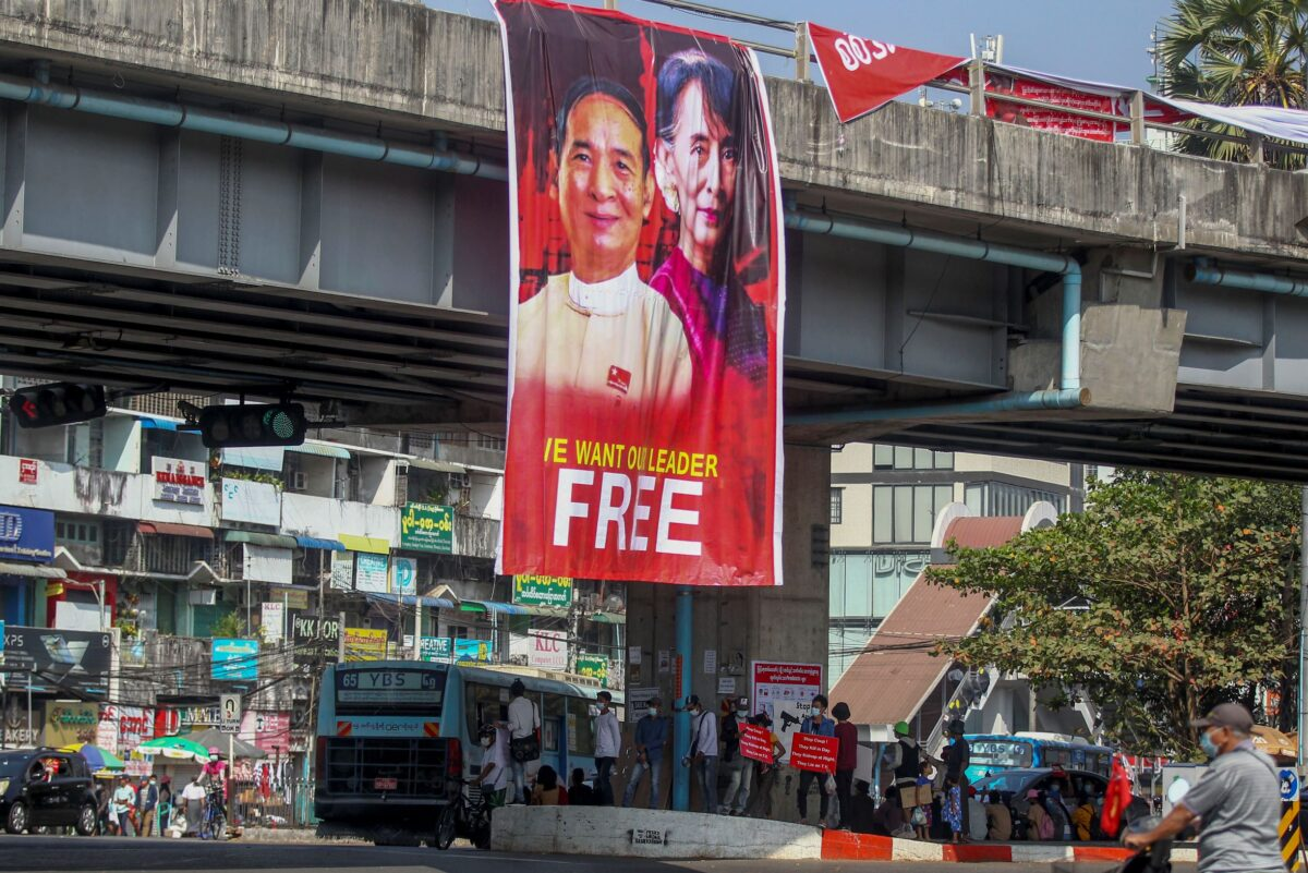 Pictures of Win Myint and Suu Kyi