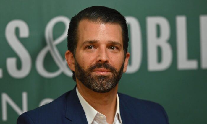 Donald Trump Jr. poses during a signing event for his new book at Barnes & Noble on 5th Avenue in New York on Nov. 5, 2019. (Angela Weiss/AFP via Getty Images)