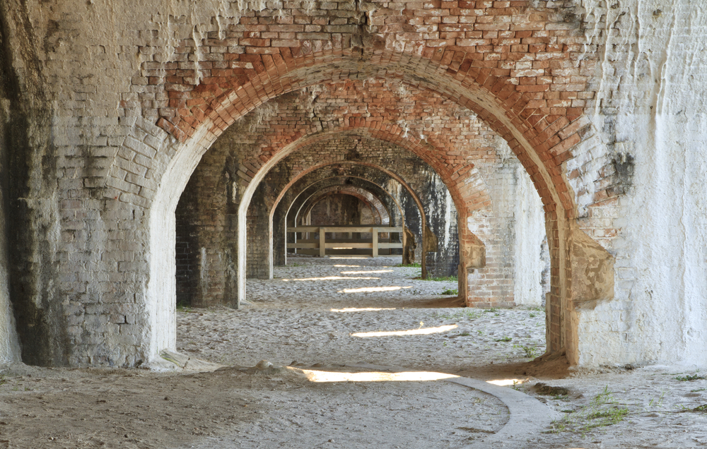 Weathered,Brick,Arches,In,A,Bastion,Of,Civil,War,Era