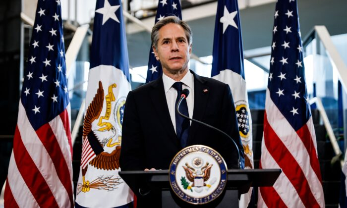 Secretary of State Antony Blinken speaks during a welcome ceremony at the State Department in Washington, on Jan. 27, 2021. (Carlos Barria/Pool/AFP via Getty Images)