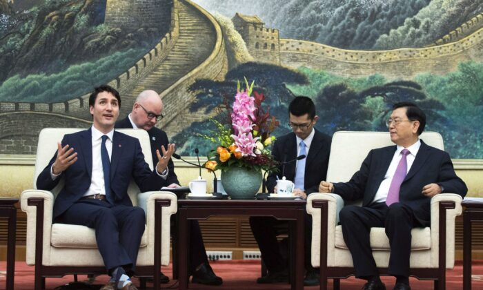 Prime Minister Justin Trudeau meets with the chairman of the Standing Committee of the National People's Congress Zhang Dejiang at the Great Hall of the People in Beijing on Dec. 5, 2017. (The Canadian Press/Sean Kilpatrick)