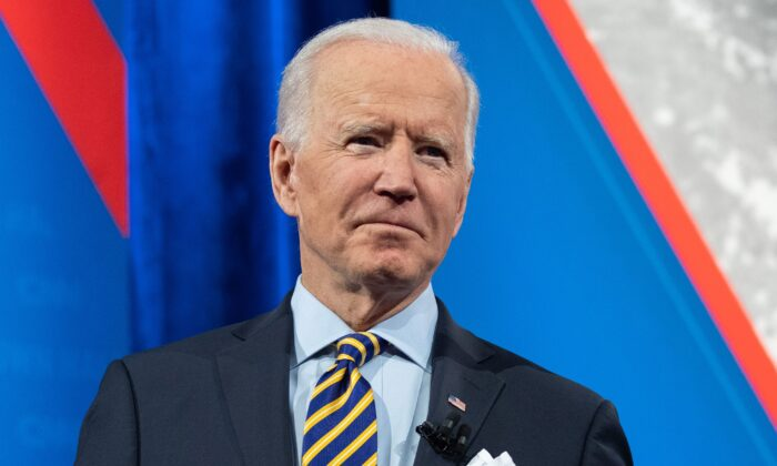 U.S. President Joe Biden participates in a CNN town hall at the Pabst Theater in Milwaukee, Wisconsin, on Feb. 16, 2021. (Saul Loeb/AFP via Getty Images)