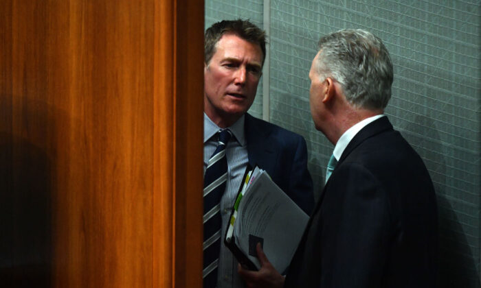 Industrial Relations Minister Christian Porter (L) and Shadow Industrial Relations Minister Tony Burke (R) speak in the House of Representatives at Parliament House on December 07, 2020 in Canberra, Australia. (Sam Mooy/Getty Images)