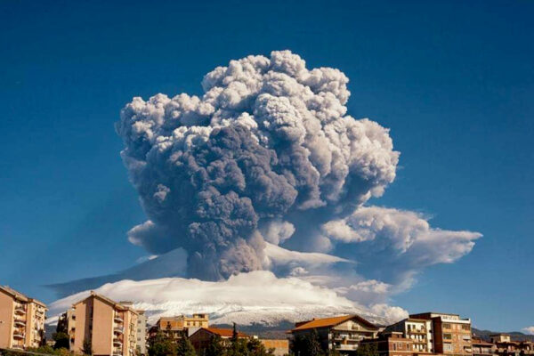 Smoke billows from Mount Etna, Europe's most active volcano