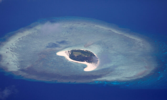 An aerial view of uninhabited island of Spratlys in the disputed South China Sea, on April 21, 2017. (Erik De Castro/Reuters)