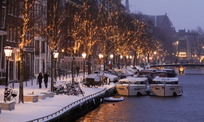 Canals are seen after heavy snowfall in Amsterdam, Netherlands, on Feb. 7, 2021. (Eva Plevier/Reuters)