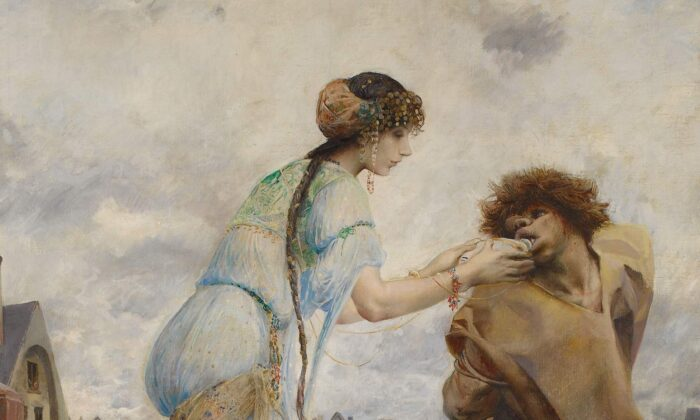 Beautiful Esmeralda gives ugly Quasimodo a gift: his first taste of compassion. (Public Domain)