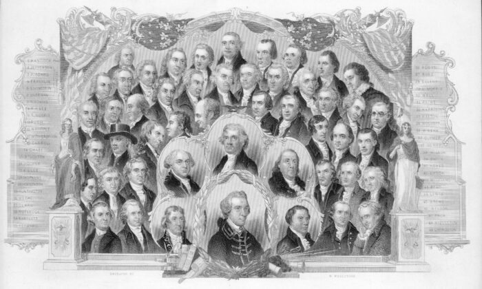 Engraved portraits of the signers of the U.S. Declaration of Independence on July 4, 1776. The signers of the Declaration of Independence understood the importance of free speech. (Kean Collection/Archive Photos/Getty Images)