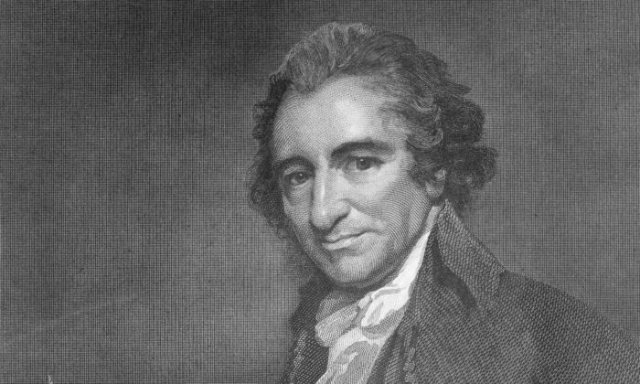 """Thomas Paine (1737–1809) produced publications that helped shape the course of both the American and French Revolutions including """"Common Sense,"""" """"The Crisis,"""" """"The Rights of Man,"""" and """"The Age of Reason."""" (Hulton Archive/Getty Images)"""