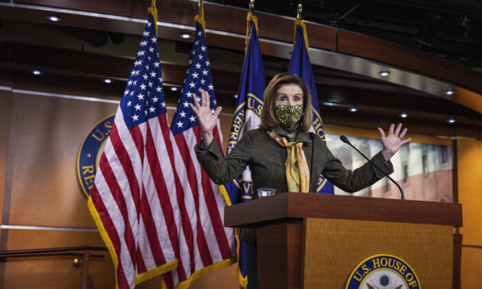 U.S. Speaker of the House Rep. Nancy Pelosi (D-Calif.) speaks at a weekly news conference at the U.S. Capitol in Washington, on Feb. 18, 2021. (Tasos Katopodis/Getty Images)