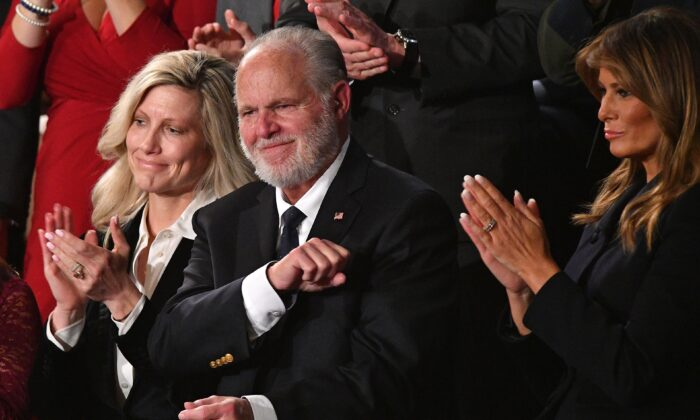 Radio personality Rush Limbaugh pumps his fist as he is acknowledged by President Donald Trump as he delivers the State of the Union address at the Capitol in Washington, on Feb. 4, 2020. (Mandel Ngan/AFP via Getty Images)