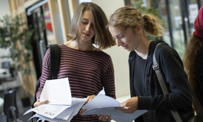 Students receive their A-Level results at Stoke Newington School in London on Aug. 15, 2016. (Dan Kitwood/Getty Images)