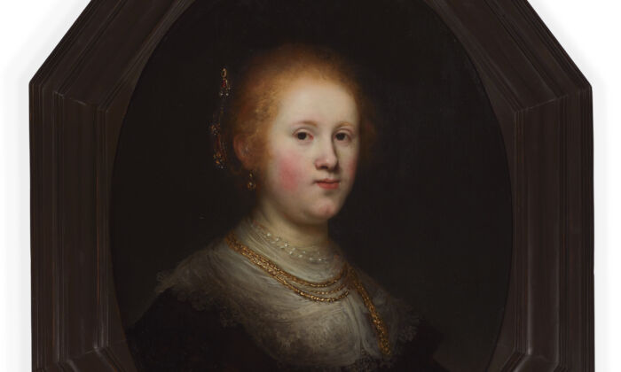 """The recently restored """"Portrait of a Young Woman,"""" 1632, by Rembrandt van Rijn. Oil on panel; 29 1/2 inches by 22 3/4 inches. Samuel H. Kress Collection, 1961.Allentown Art Museum. (Allentown Art Museum)"""