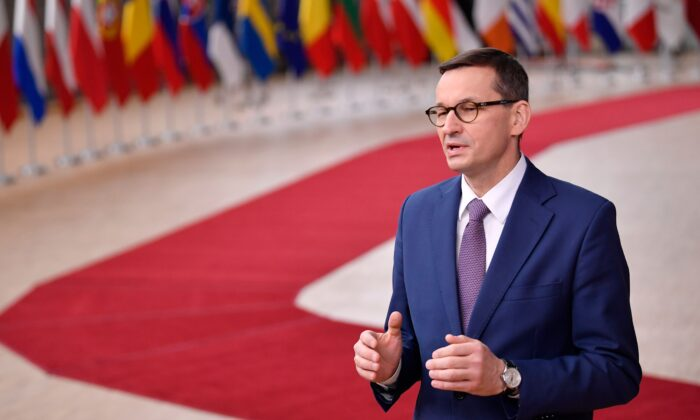 Poland's Prime Minister Mateusz Morawiecki at the EU headquarters' Europa building in Brussels on Dec. 10, 2020. (John Thys/ Pool/AFP via Getty Images)