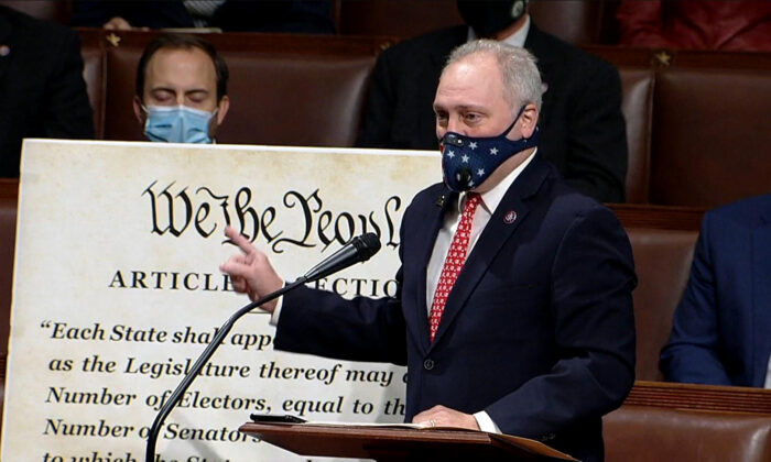 In this screenshot taken from a congress.gov webcast, U.S. House Minority Whip Steve Scalise (R-LA) speaks during a House debate session to ratify the 2020 presidential election at the U.S. Capitol in Washington on Jan. 6, 2021. (congress.gov via Getty Images)