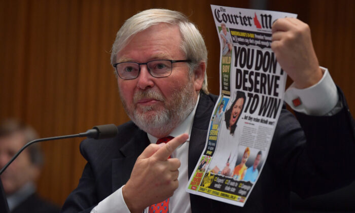 Former Prime Minister Kevin Rudd during the public hearing into Media diversity in Australia at the Environment and Communications References Committee in the Main Committee Room at Parliament House on February 19, 2021 in Canberra, Australia. (Sam Mooy/Getty Images)