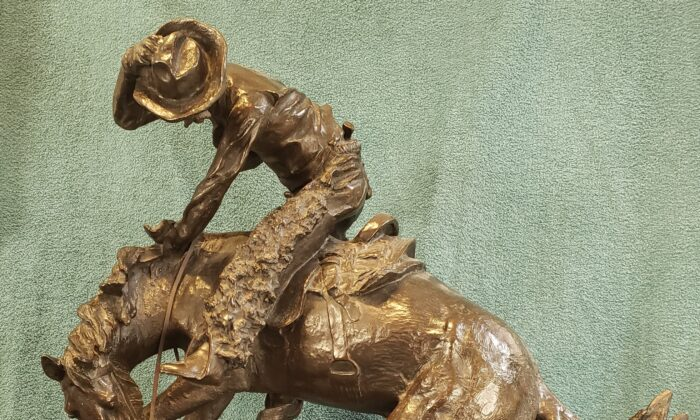 """A detail of the """"The Rattlesnake,"""" 1905, by Frederic Remington. Bronze sculpture; 23 inches high by 22 inches long by 10.5 inches wide. (Courtesy of Wayne A. Barnes)"""
