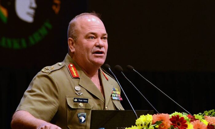 Australian Major General Roger Noble, assigned as deputy commander US Army Pacific, addresses a defence seminar in Sri Lankas capital Colombo on August 29, 2017. (Lakruwan Wanniarachchi/AFP via Getty Images)