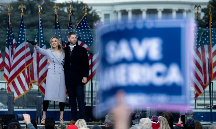 Lara Trump and Eric Trump speak during a rally of supporters of US President Donald Trump on The Ellipse outside of the White House on Jan. 6, 2021. (Brendan Smialowski/AFP via Getty Images)