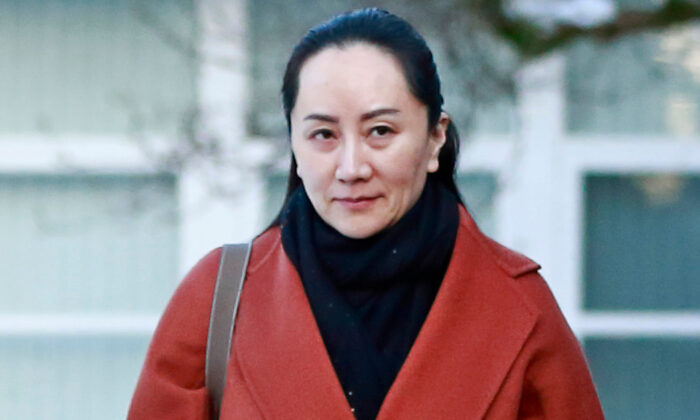 Huawei executive Meng Wanzhouon on her way to a court appearance in Vancouver on Jan. 17, 2020. (Jeff Vinnick/Getty Images)