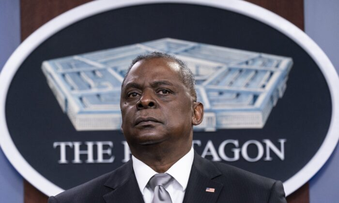 Secretary of Defense Lloyd Austin listens to a question as he speaks during a media briefing at the Pentagon in Washington, on Feb. 19, 2021. (Alex Brandon/AP Photo)