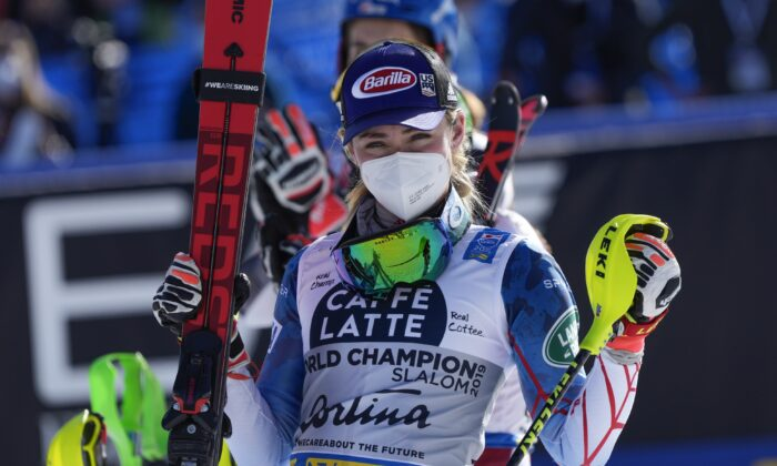 United States' Mikaela Shiffrin celebrates her third place in the women's slalom, at the alpine ski World Championships in Cortina d'Ampezzo, Italy, on Feb. 20, 2021. (Giovanni Auletta/AP Photo)