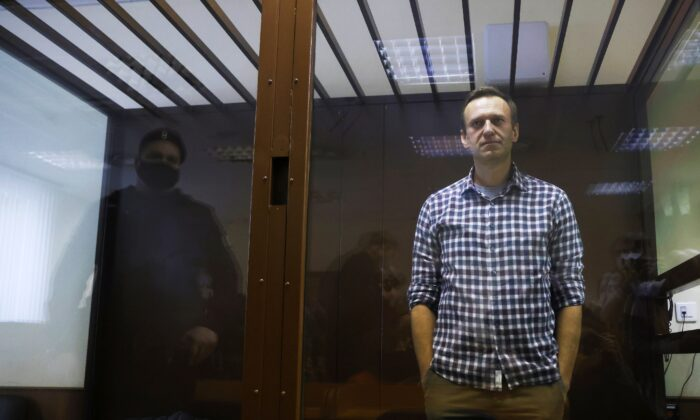 Russian opposition leader Alexei Navalny attends a hearing to consider an appeal against an earlier court decision to change his suspended sentence to a real prison term, in Moscow, Russia, on Feb. 20, 2021. (Maxim Shemetov/Reuters)
