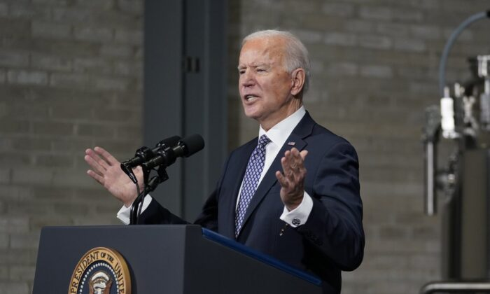 President Joe Biden speaks after a tour of a Pfizer manufacturing site in Portage, Mich., on Feb. 19, 2021. (Evan Vucci/AP Photo)