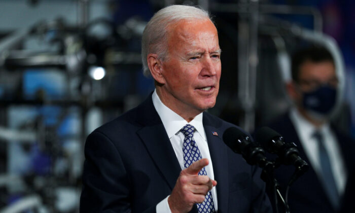 President Joe Biden speaks in Kalamazoo, Mich., on Feb. 19, 2021. (Tom Brenner/Reuters)