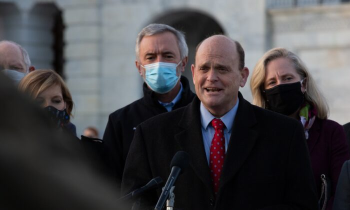 Rep. Tom Reed (R-N.Y.) speaks during a press conference outside the U.S. Capitol in Washington on Dec. 21, 2020. (Cheriss May/Getty Images)