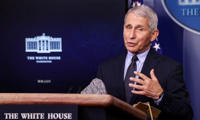 National Institute of Allergy and Infectious Diseases Director Anthony Fauci addresses the daily press briefing at the White House in Washington, on Jan. 21, 2021. (Jonathan Ernst/Reuters, File Photo)
