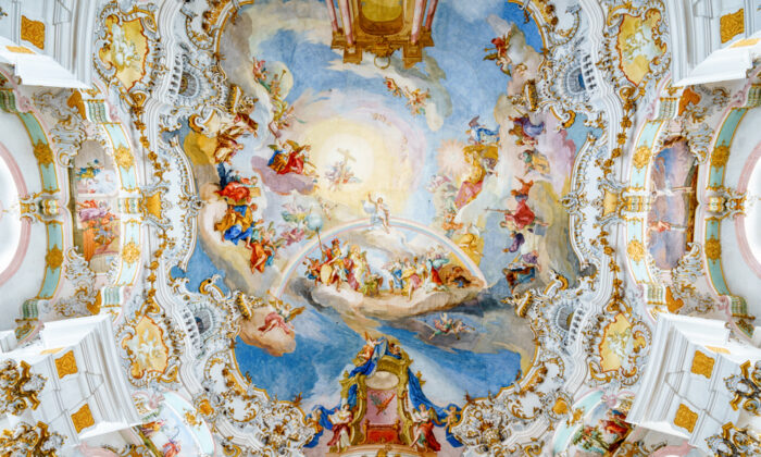 Wieskirche (the Pilgrimage Church of Wies), in Bavaria, Germany, is a Rococo masterpiece and the best example of the Wessobrunn style of stuccowork. (Pabkov/Shutterstock)