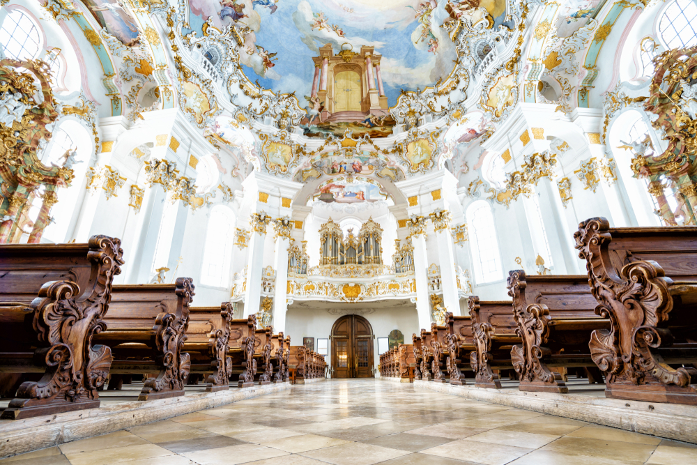 Wieskirche,,Germany,Â,March,07:,View,On,Rococo,Interior,Of