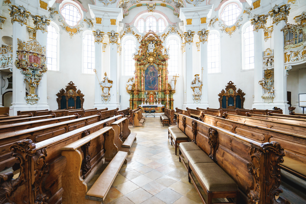 Wieskirche,,Germany,â??,March,07:,View,On,Rococo,Interior,Of