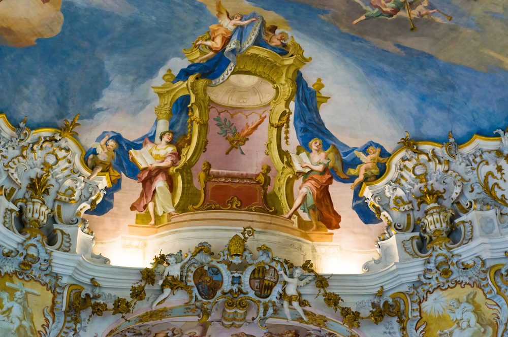 World,Heritage,Wall,And,Ceiling,Frescoes,Of,Wieskirche,Church,In