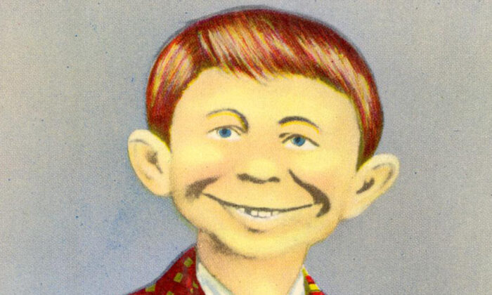 """A postcard with the public domain """"me worry?"""" face that later inspired ''Mad'' magazine's Alfred E. Neuman. (Wikimedia Commons)"""