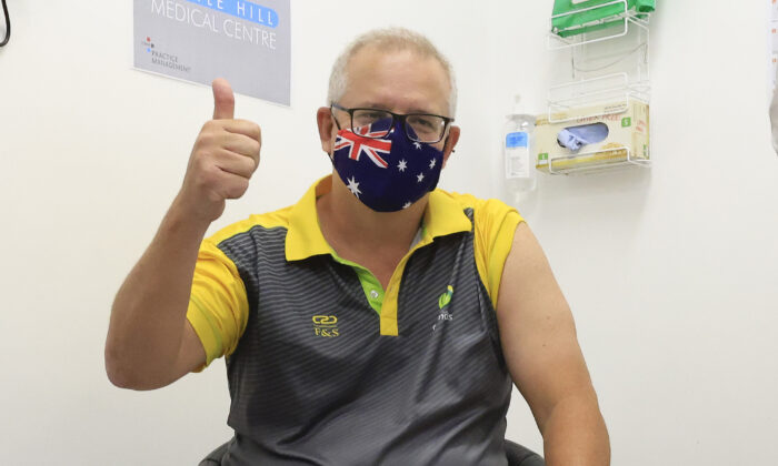 Australian Prime Minister Scott Morrison gives the thumbs up after receiving a COVID-19 vaccination at Castle Hill Medical Centre  in Sydney, Australia on Feb. 21, 2021. (Mark Evans/Getty Images)