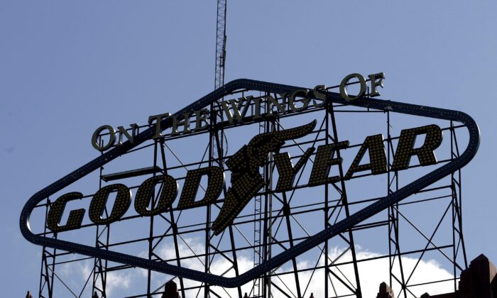 The Goodyear trademark sits on top of the Goodyear Hall building across the street from the Goodyear Tire and Rubber Co.'s corporate headquarters in Akron, Ohio, on Oct. 6, 2006. (J.D. Pooley/Getty Images)