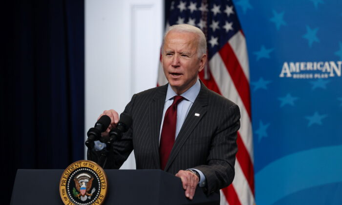 President Joe Biden announces changes to the Paycheck Protection Program for small businesses during brief remarks in the South Court Auditorium at the White House on Feb. 22, 2021. (Jonathan Ernst/Reuters)