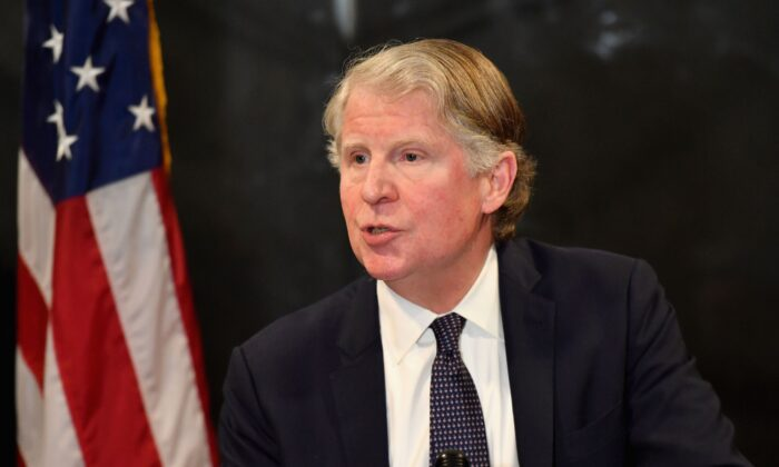 Manhattan District Attorney Cy Vance speaks at a press conference in New York City on Feb. 24, 2020. (Angela Weiss/AFP via Getty Images)