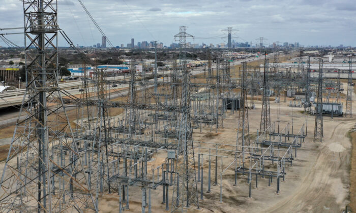 An aerial view of an electrical substation in Houston, Texas., on Feb. 21, 2021. (Justin Sullivan/Getty Images)