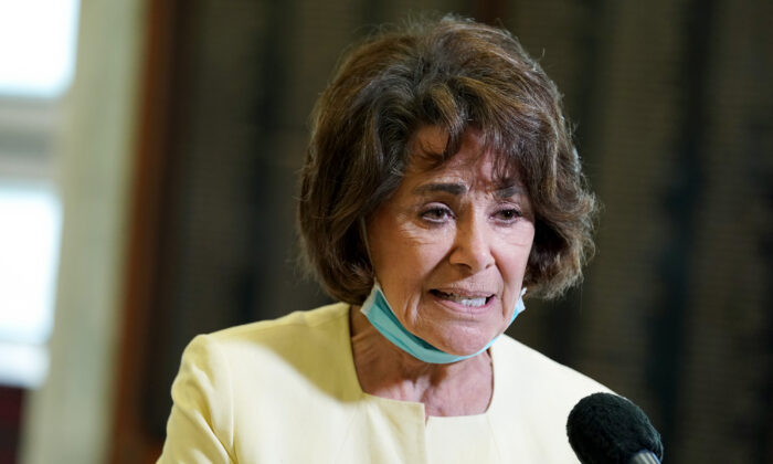 Rep. Anna Eshoo (D-Calif.) speaks to reporters in Washington on May 14, 2020. (Greg Nash/Pool/AFP via Getty Images)