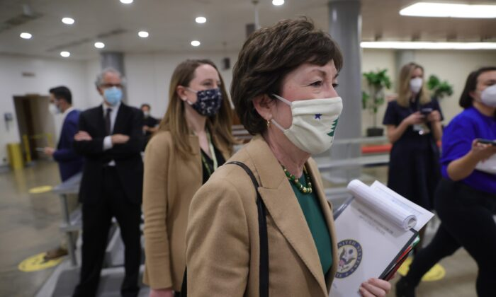 Sen. Susan Collins (R-Maine) departs the U.S. Capitol in Washington on Feb. 12, 2021. (Win McNamee/Getty Images)