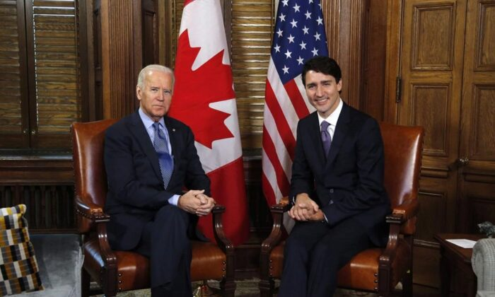 Prime Minister Justin Trudeau meets with US Vice-President Joe Biden on Parliament Hill in Ottawa on Dec. 9, 2016. (Patrick Doyle/The Canadian Press)