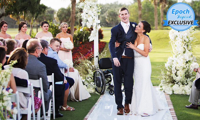 Chris Norton walking down the aisle with his wife, Emily Summers, on April 21, 2018, in Jupiter, Florida. (Courtesy of Sarah Kate/Fotolanthropy)